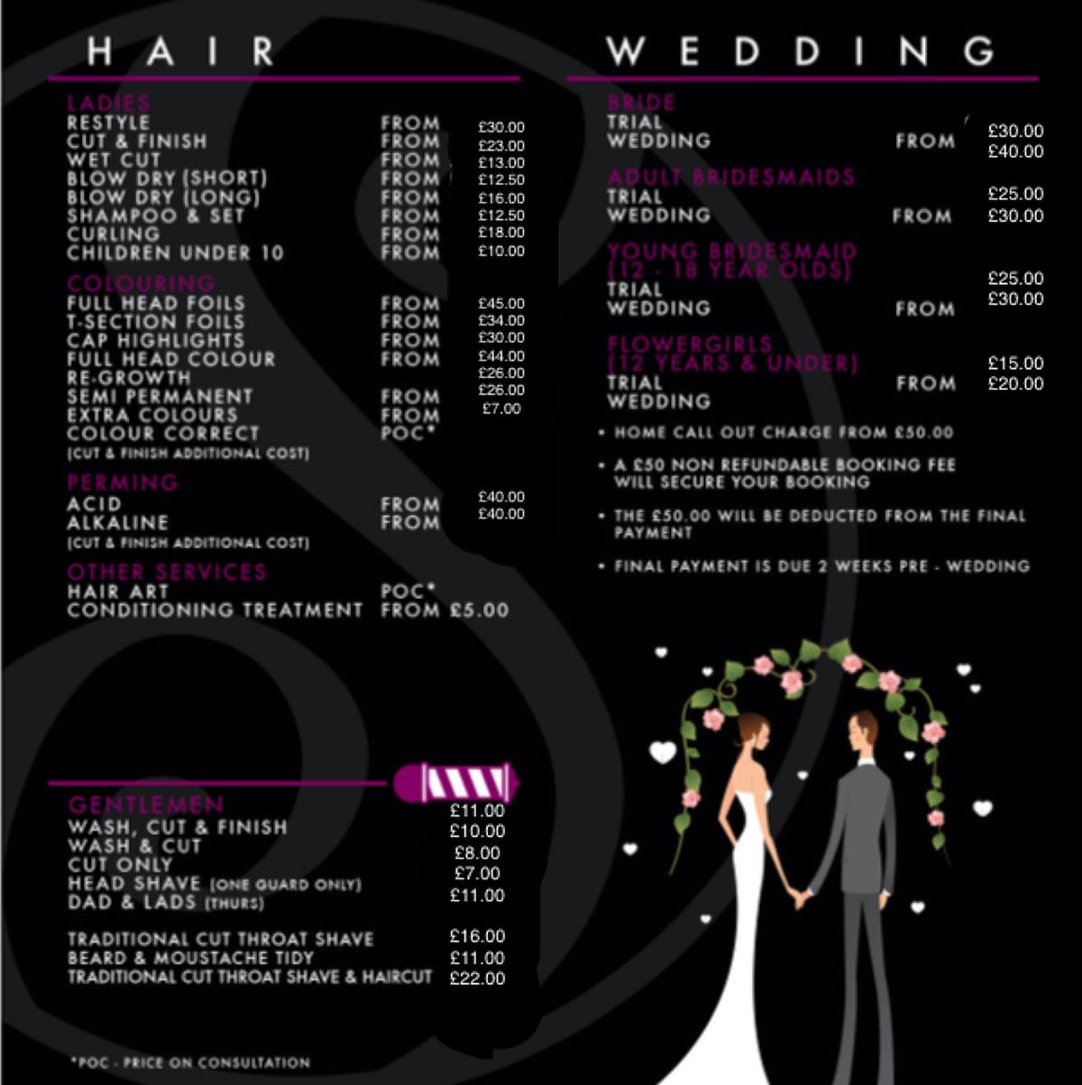 price list hair salons in preston sarah shaw hair design